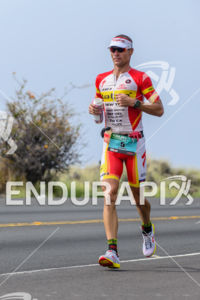 Craig Alexander running at the 2013 Ironman World Championship in Kailua-Kona, Hawaii on October 12, 2013.