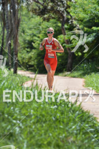 Swiss's Michelle Derron running at the 2014 Brasilia FISU World University Triathlon Championships in Brasilia, Brazil on April 20, 2014.