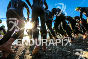 Start of the first wave of the Age Group athletes of the 2014 Ironman 70.3 Pays d'Aix, Aix en Provence on May 18, 2013.