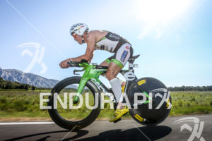Frederik van Lierde in the lead during the bike leg of the 2014 Ironman 70.3 Pays d'Aix, Aix en Provence on May 18, 2013.