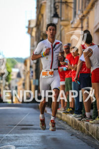 Bertrand Billard in the lead during the run leg of the 2014 Ironman 70.3 Pays d'Aix, Aix en Provence on May 18, 2013.