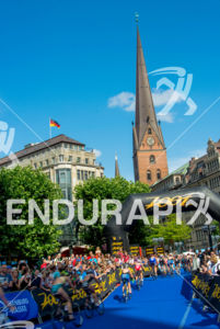 Elite female pack at the 2014 Hamburg World Triathlon in Hamburg, Germany on July 12-13, 2014.