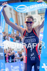 Gwen Jorgensen takes the victory at the 2014 Hamburg World Triathlon in Hamburg, Germany on July 12-13, 2014.