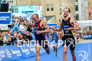 Amazing sprint between USA and German at the 2014 Hamburg World Triathlon in Hamburg, Germany on July 12-13, 2014.