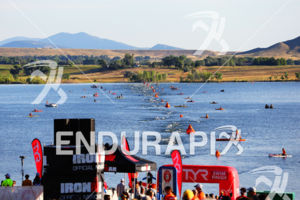 Athletes finish up swim at the  Ironman Boulder on August 3, 2014 in Boulder, Colorado