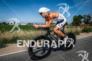 Justin Daerr on bike at the  Ironman Boulder on August 3, 2014 in Boulder, Colorado