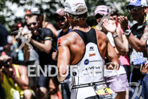 Justin Daerr on the run portion of the race at the Ironman Boulder on August 3, 2014 in Boulder, Colorado