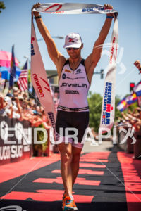 Justin Daerr is victorious at the  Ironman Boulder on August 3, 2014 in Boulder, Colorado