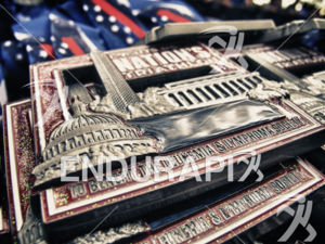 Finisher medals await their recipients at the 2014 Nation's Triathlon in Washington, D.C. on September 7, 2014.