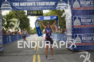 Emily Richard takes first place in the women's division at the 2014 Nation's Triathlon in Washington, D.C. on September 7, 2014.