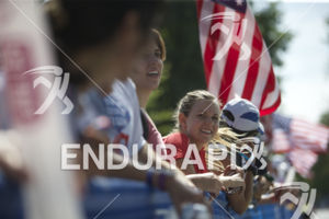 Spectators at the finish at the 2014 Nation's Triathlon in Washington, D.C. on September 7, 2014.