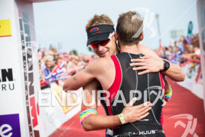 Fraser Cartmell and winner Matt Trautman at the 2014 Ironman Wales in Tenby, Pembrokeshire, Wales, United Kingdom on September 14, 2014.