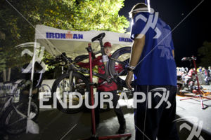 Pre-race bike repair and inspection at the 2014 Ironman Lake Tahoe Triathlon on September 21, 2014 in Lake Tahoe, CA.