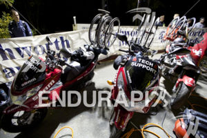 Bike tech support at the 2014 Ironman Lake Tahoe Triathlon on September 21, 2014 in Lake Tahoe, CA.