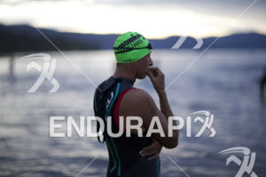 Athletes show disappointment at the race cancellation at the 2014 Ironman Lake Tahoe Triathlon on September 21, 2014 in Lake Tahoe, CA.