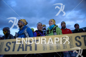 Atlhetes pior to race start at the 2014 Ultra Trail Torres del Paine in Puerto Natales, Patagonia, Chile,  on September 26, 2014.