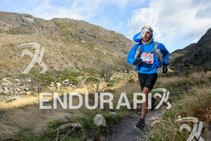 Athlete running at the 2014 Ultra Trail Torres del Paine in Puerto Natales, Patagonia, Chile,  on September 26, 2014.