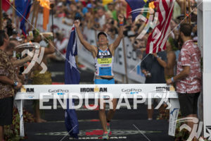 Mirinda Carfrae claims victory for a second year in a row at the 2014 Ironman World Championship in Kailua-Kona, Hawaii on October 11, 2013.