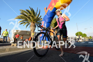 Diana Riesler leaves the transition zone for the bike part of the 2015 Ironman Lanzarote in Puerto del Carmen, Lanzarote, Spain,  on May 23, 2015.