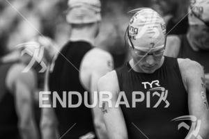 Josh Amberger (foreground) waits for the professional start wave at the 2015 Beijing International Triathlon on September 20, 2015 in Beijing, China.