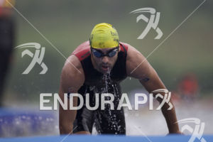 Cesc Godoy (ESP) completes the swim leg at the 2015 Beijing International Triathlon on September 20, 2015 in Beijing, China.