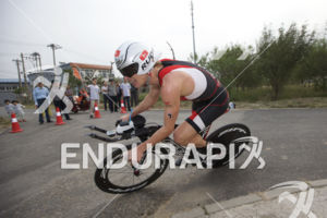 Josh Amberger (AUS) navigates a fast and technical bike course at the 2015 Beijing International Triathlon on September 20, 2015 in Beijing, China.