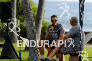 Jan Frodeno and Greg Welch (l-r) on a press event hosted by sponsor Oakley  prior to the 2015 Ironman World Championship 2015 in Kailua-Kona, Hawaii
