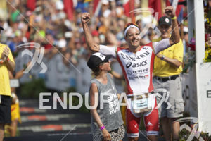 Jan Frodeno claims victory at the 2015 Ironman World Championship in Kailua-Kona, HI on October 10, 2015.