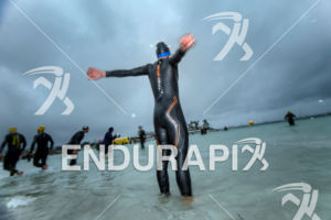 Age group athlete prepares before the start at the 2016 Ironman 70.3 Mallorca on May 07, 2016 in in Port d'Alcudia, Mallorca, Spain