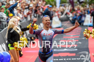 Andreas Boecherer at the finish at the Ironman European Championship in Frankfurt, Germany on July 03, 2016