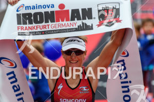 Melissa Hauschildt at the finish at the Ironman European Championship in Frankfurt, Germany on July 03, 2016