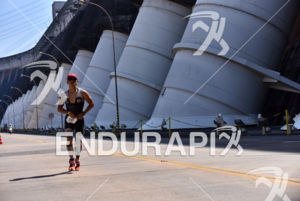 Triathlete during the scenic run portion of the 2016 Ironman 70.3 Itaipu 's Triathlon in Foz do Iguazu, Brazil, on August 27, 2016.