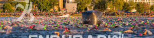 Swimmers and crowd at the 2016 Ironman Wisconsin in Madison, WI, on Sep. 11, 2016