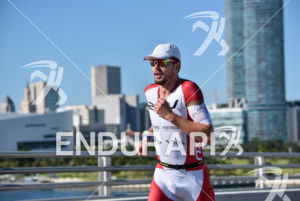 Franz Loeschke during the run portion of the 2016 Ironman 70.3 Miami in Miami FL, USA on October 23, 2016.
