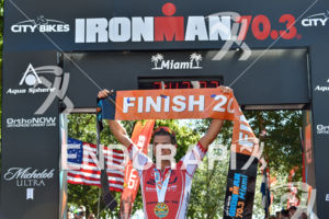 Terenzo Bozzone during the finish portion of the 2016 Ironman 70.3 Miami in Miami FL, USA on October 23, 2016.