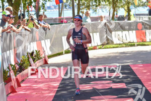 Jennifer  Spieldenner during the finish portion of the 2016 Ironman 70.3 Miami in Miami FL, USA on October 23, 2016.