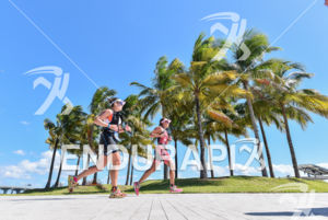 Age groupers in a scenic point during the run portion of the 2016 Ironman 70.3 Miami in Miami FL, USA on October 23, 2016.