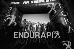 Before the swim start for the age groupers at the 2017 Ironman 70.3 Santa Rosa in Sonoma County, CA on May 13, 2017.