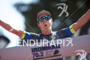Sam Appleton claims victory at the 2017 Ironman 70.3 Santa Rosa in Sonoma County, CA on May 13, 2017.