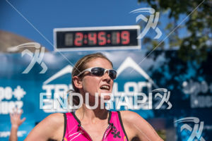 Finish line of the Alpe d'Huez short distance Triathlon in France on July 28th, 2017.
