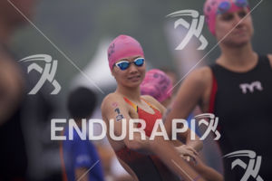 Mengying Zhong prepares for the swim start at the 2017 Beijing International Triathlon on September 10, 2017 in Beijing, China.