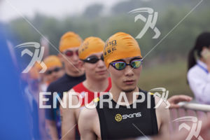 Age groupers line up for the swim start at the 2017 Beijing International Triathlon on September 10, 2017 in Beijing, China.