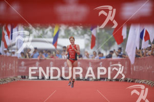 Paula Findlay claims 1st place at the 2017 Beijing International Triathlon on September 10, 2017 in Beijing, China.