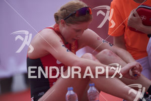 Paula Findlay at the finish line of the 2017 Beijing International Triathlon on September 10, 2017 in Beijing, China.