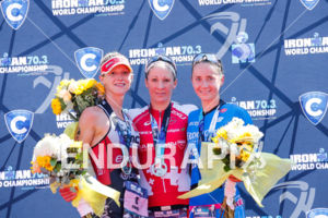 Daniela Ryf , Emma Pallant and Laura Philipp during the podium portion of the 2017 Ironman 70.3 World Championship in Chattanooga, TN, USA, on Sep. 09, 2017.