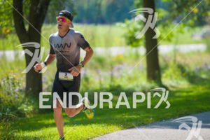 Pro Luke McKenzie running strong on the way to a victory at the 2017 Ironman Wisconsin on September 10, 2017 in Madison, WI.