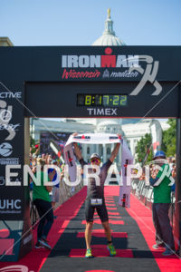 Pro Luke McKenzie at the finish line at the 2017 Ironman Wisconsin on September 10, 2017 in Madison, WI.
