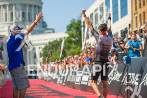 Pro Luke McKenzie  after his victory at the 2017 Ironman Wisconsin on September 10, 2017 in Madison, WI.