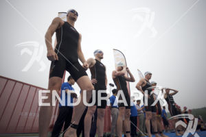 The pro men line up for the swim start at the 2017 Beijing International Triathlon on September 10, 2017 in Beijing, China.