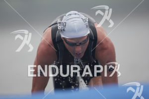 Henri Schoeman is first out of the water at the 2017 Beijing International Triathlon on September 10, 2017 in Beijing, China.